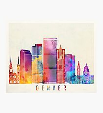 Denver landmarks watercolor poster Photographic Print