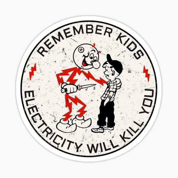 Reddy Kilowatt. Remember kids, electricity will kill you.  Sticker