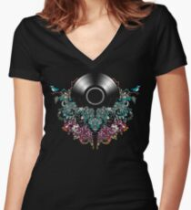 Grow - Music tee with Vintage Record Women's Fitted V-Neck T-Shirt