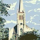 Historic St Francis Borgia Church - Cedarburg WI (muted) by katherinepaulin