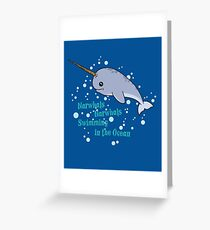 Awesome Narwhals Swimming In The Ocean Greeting Card