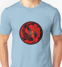 Red and Black Yin Yang Koi Fish Unisex T-Shirt