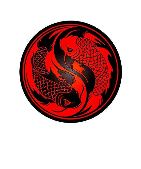 Red And Black Yin Yang Koi Fish Posters By Precongepok Redbubble