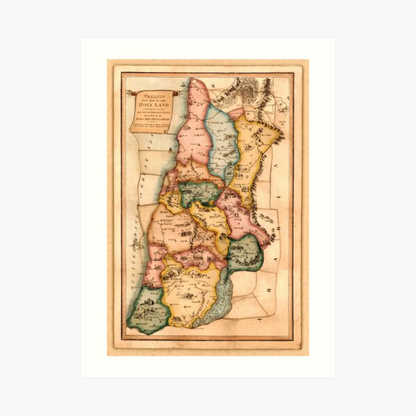 Map Of The Holy Land 1815 Art Print