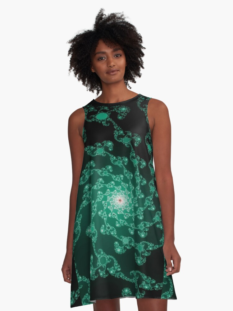Whirls of Green A-Line Dress Front