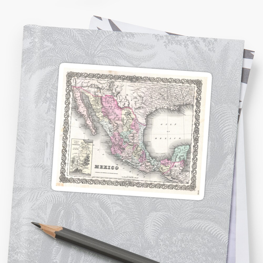 vintage map of mexico 1855 stickers by bravuramedia redbubble
