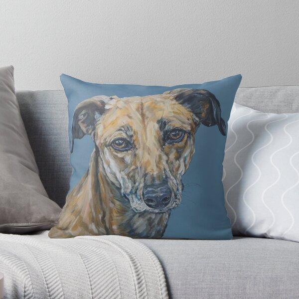 Jake. Dog painting art by award-winning UK artist Sam Fenner Throw Pillow