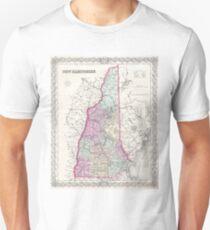 Vintage Map of New Hampshire (1855) Unisex T-Shirt
