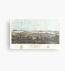Vintage Pictorial Map of San Francisco (1854)  Metal Print