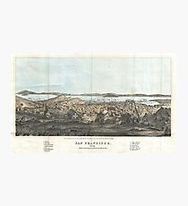 Vintage Pictorial Map Of San Francisco (1854) Photographic Print
