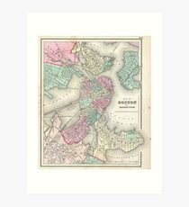 Vintage Boston Map Wall Art Redbubble