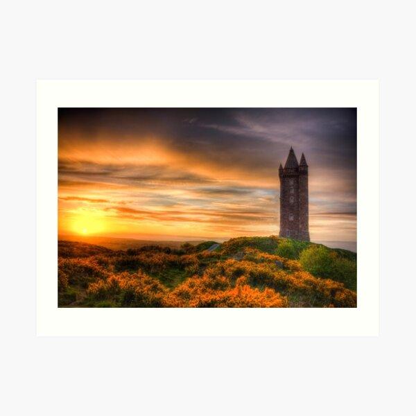 Sunset at Scrabo Tower Art Print