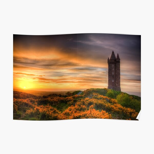 Sunset at Scrabo Tower Poster