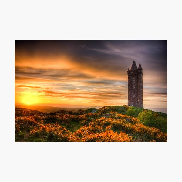 Sunset at Scrabo Tower Photographic Print