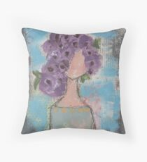 Purple flowers in her hair Throw Pillow