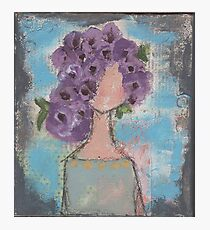 Purple flowers in her hair Photographic Print