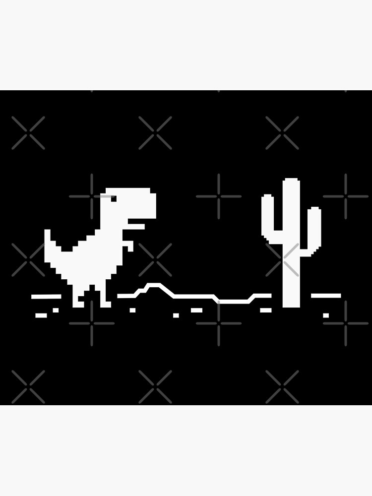 Chrome Pixel Dino Run T Rex with a Pixel Cactus in the Desert - Browser Offline Game by gengns