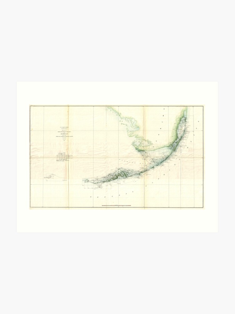 image relating to Printable Map of Florida Keys known as Basic Map of The Florida Keys (1859) Artwork Print