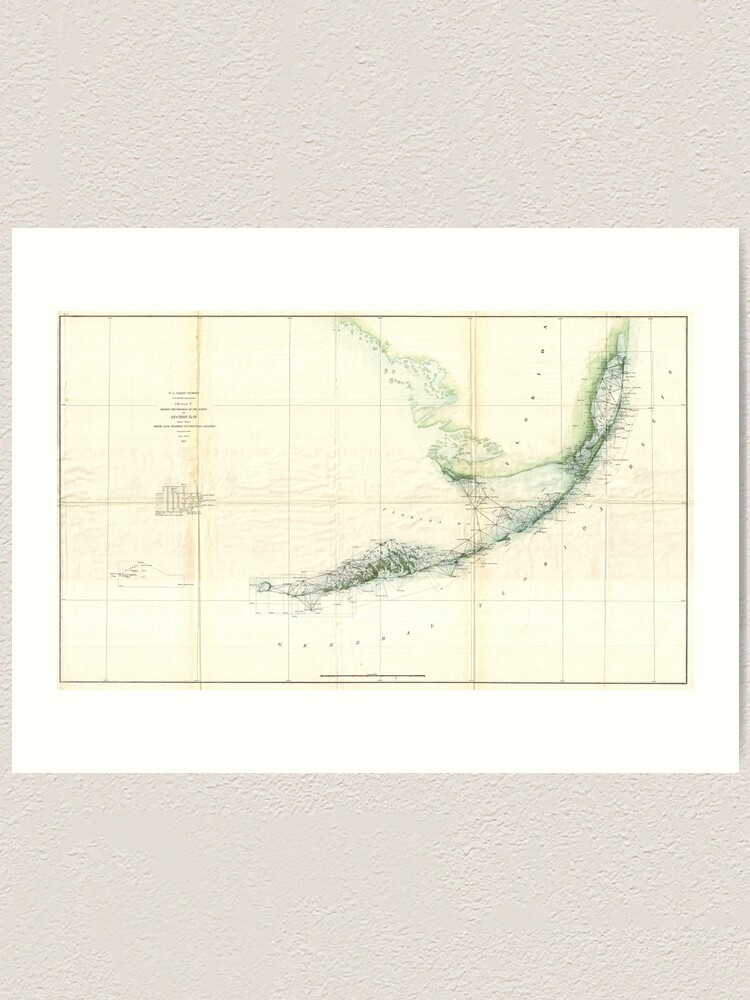 Printable Map Of Florida Keys.Vintage Map Of The Florida Keys 1859 Art Print
