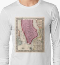 Camiseta de manga larga Vintage Map of Lower New York City (1860)