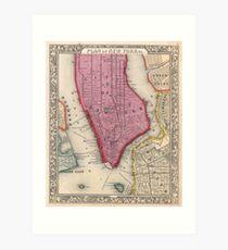 Lámina artística Vintage Map of Lower New York City (1860)