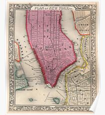 Póster Vintage Map of Lower New York City (1860)