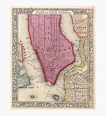 Lámina fotográfica Vintage Map of Lower New York City (1860)