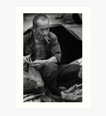 Cigar Man - Xingping, China Art Print