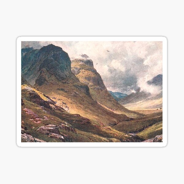 Vintage Illustration of Glencoe, Scottish Highlands Sticker
