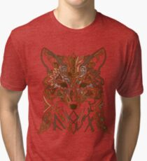 Ornamental tribal style fox silhouette Tri-blend T-Shirt