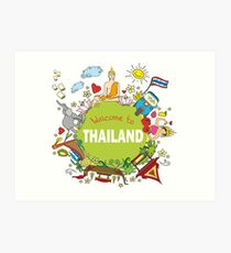Welcome to Thailand . Set Thai elements. Art Print