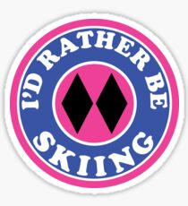 I'D RATHER BE Skiing Mountain Mountains SKIING SKI Skis Silhouette Snowboard Snowboarding ID PINK DOUBLE BLACK DIAMOND Sticker