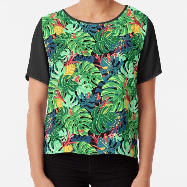 Beautiful pattern leaves monstera and frogs  Chiffon Top