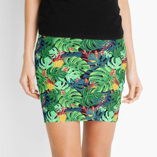 Beautiful pattern leaves monstera and frogs  Mini Skirt