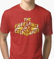 The Freelance Cosmonauts- Logo (Gold w/red) Tri-blend T-Shirt