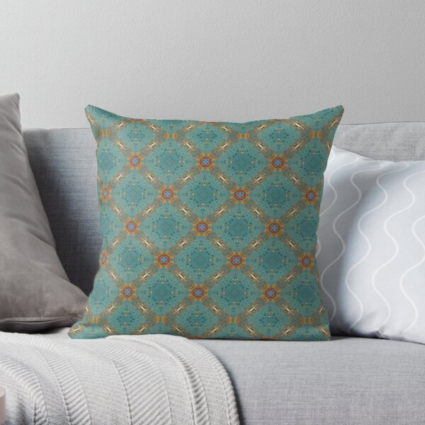 Turquoise gold pattern Throw Pillow