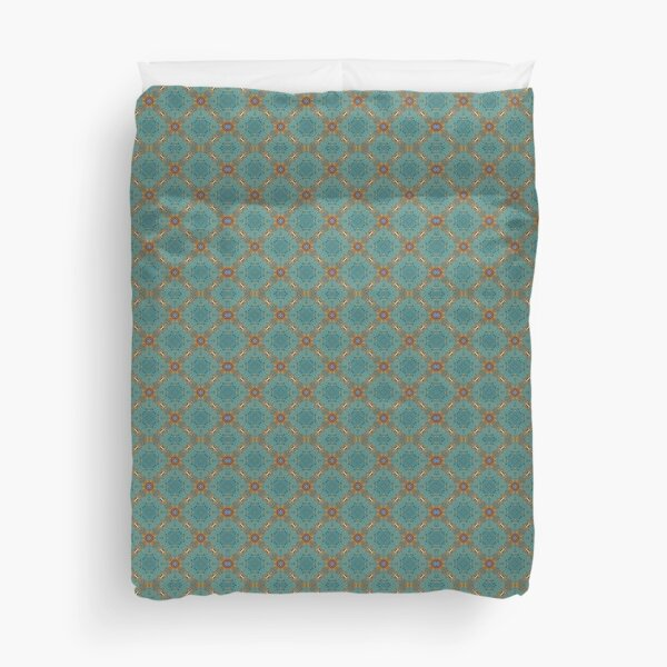 Turquoise gold pattern Duvet Cover