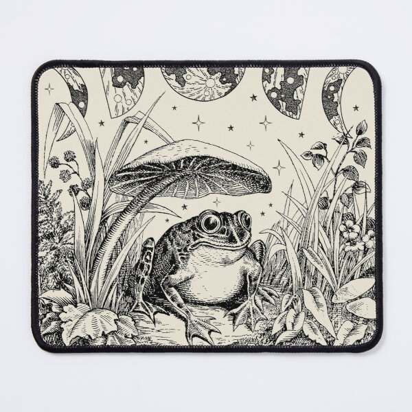 Cute Cottagecore Aesthetic Frog Mushroom Moon Witchy Vintage Mouse Pad