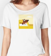Happy brown dog travel in the car. VECTOR ILLUSTRATION. Women's Relaxed Fit T-Shirt