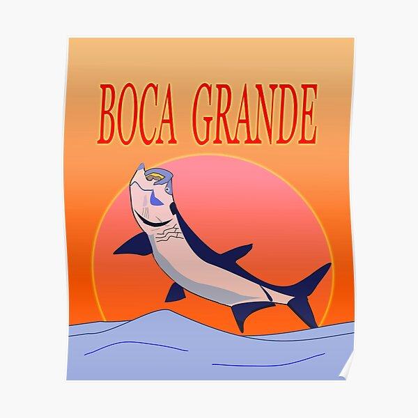 Boca Grande with Tarpon Jumping GRAPHIC Poster