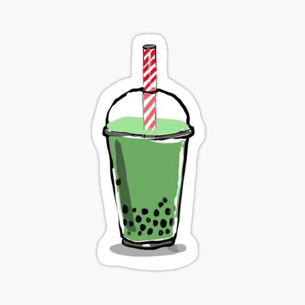Green tea boba drink Sticker