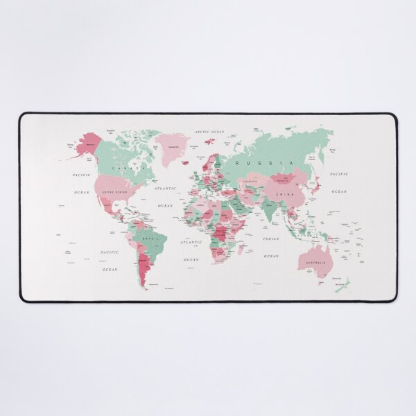 Map of the World in Pink and Mint Green Desk Mat