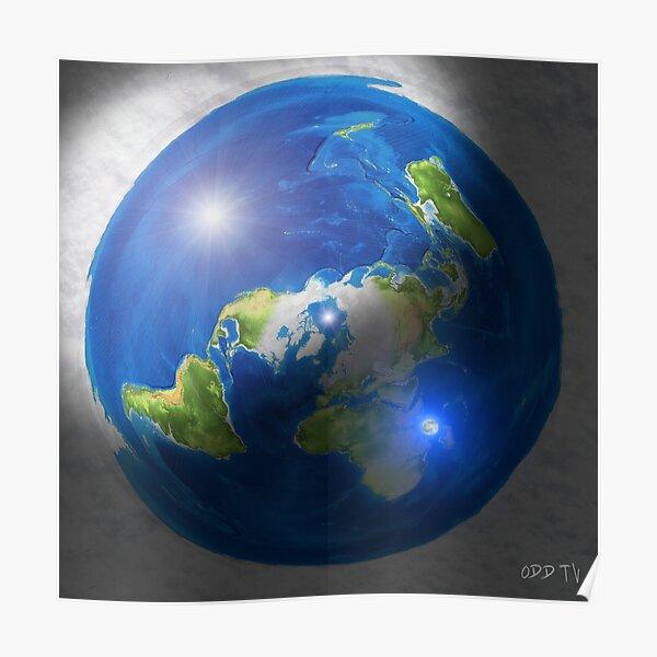 Flache Erde mit Sonne, Mond und Polaris Poster