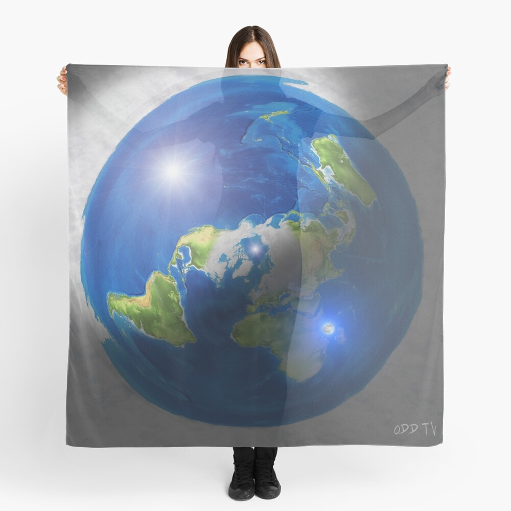 Flat Earth with Sun, Moon & Polaris Scarf