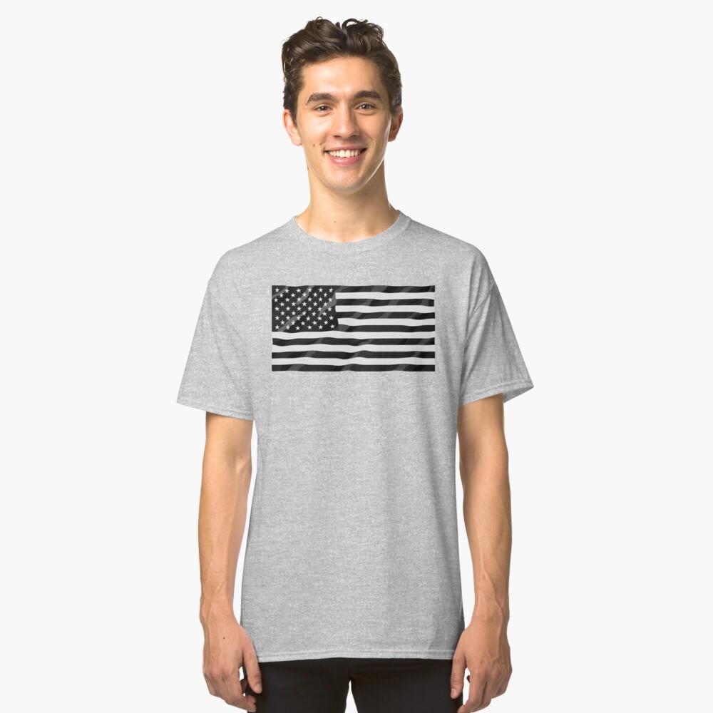 Bandera americana blanco y negro Camiseta clásica