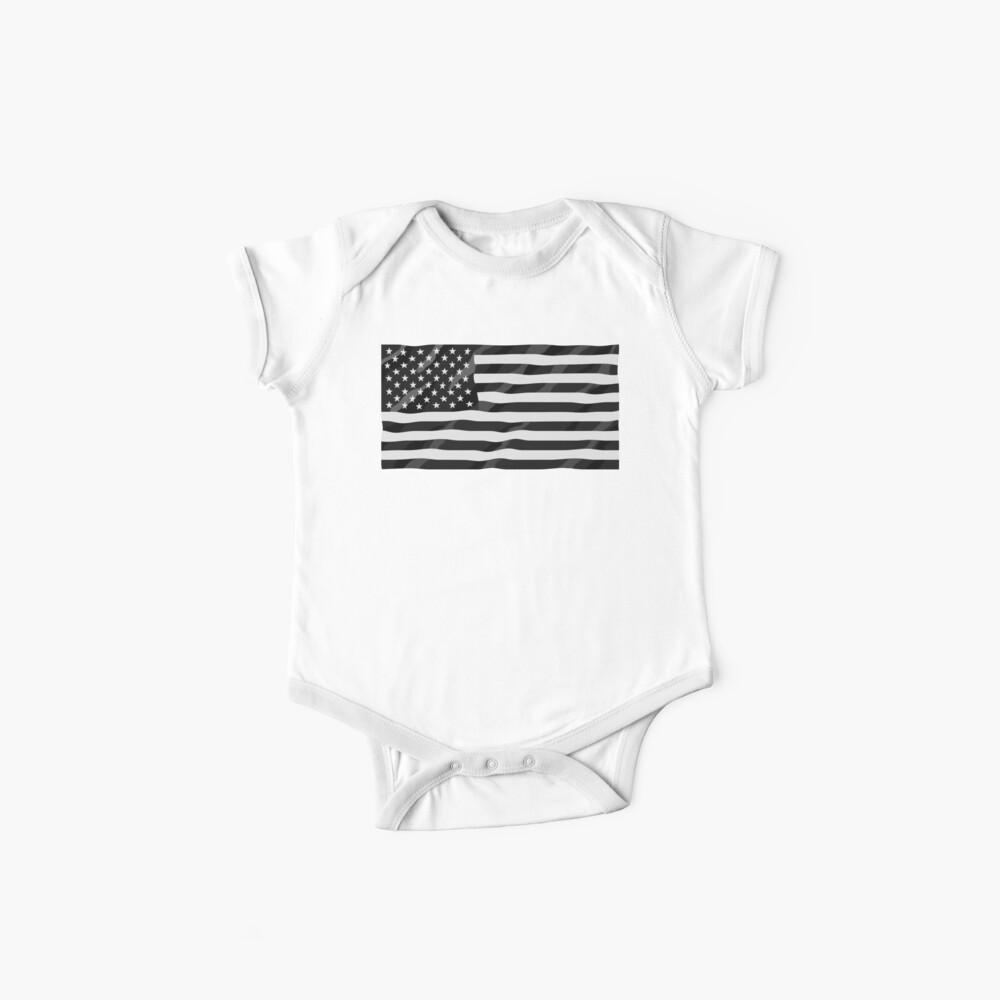 Bandera americana blanco y negro Body para bebé