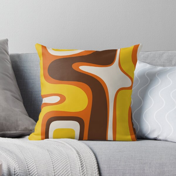 Copacetic 70s Retro Modern Abstract Pattern Orange Mustard Yellow Brown Beige Throw Pillow