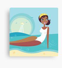 Cute stylized beach girl : Girlie - Girl according 60 years Canvas Print