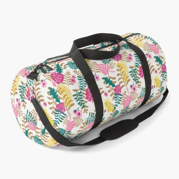 Tropical plants in sophisticated gold, pink and green pattern - a vibrant pattern Duffle Bag