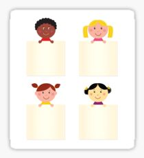 Four cute children with blank banners Sticker